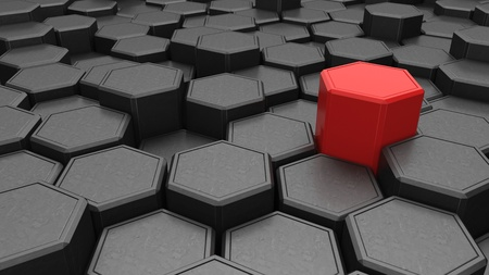 Individuality. Red hexagon shape in the midst of black objects. 3d illustration. Banco de Imagens