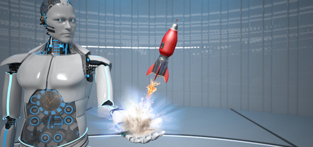 Humanoid robot with a starting rocket. 3d illustration.