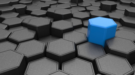 Individuality. Blue hexagon shape in the midst of black objects. 3d illustration. Banco de Imagens