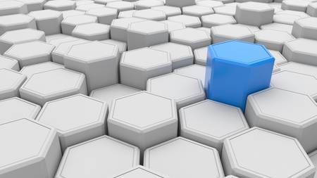 Individuality. Blue hexagon shape in the midst of white objects. 3d illustration.