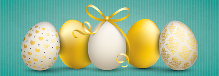 Green vintage banner with noble easter eggs. Eps 10 vector file. 일러스트