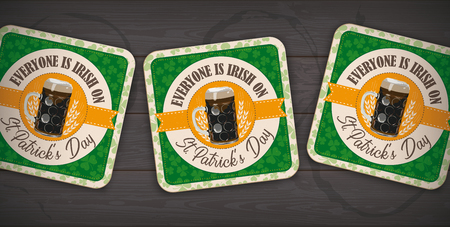 Banner with beer coaster for St Patricks Day on the dark wooden background.