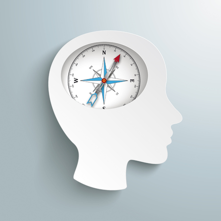 Infographic design with human head and compass in the brain on the gray background. Eps 10 vector file.