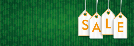 Bannière vintage verte avec des autocollants de prix orange pour la vente de la Saint-Patrick. Fichier vectoriel EPS 10.