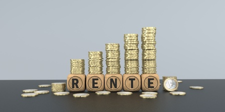 German text Rente, translate Annuity. 3d illustration. Stock Photo