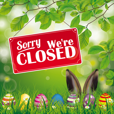 "Easter eggs, with red hanging sign and text ""sorry, we're closed""."