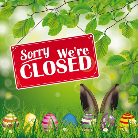 """Paaseieren, met rood hangend bord en tekst """"sorry, we're closed""""."""