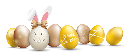 German text Frohe Ostern, translate Happy Easter.