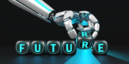 The robot hand with black cubes and text Change Chance. 3d illustration.