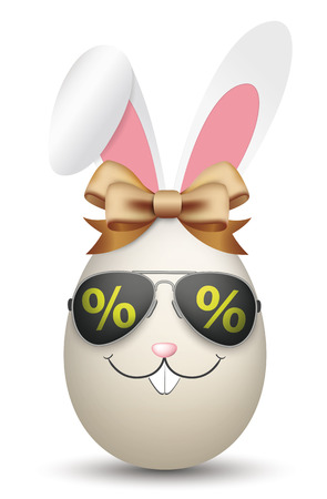 Natural easter egg with hare ears, sunglasses, percents and ribbon. vector file.