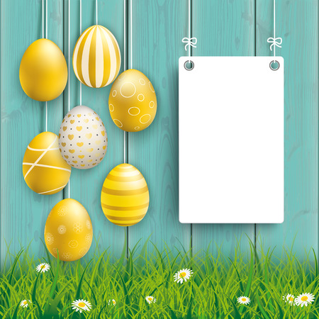 Hanging golden easter eggs with board on the wooden background. Eps 10 vector file.