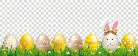 Golden easter eggs in the grass with hare ears on the checked background. Eps 10 vector file.