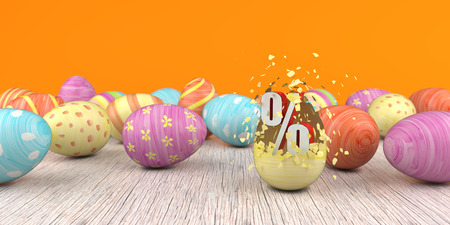 Splintered easter egg with big percent on the wooden table. 3d illustration.