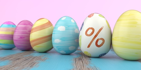 Colored easter eggs with percent on the wooden table. 3d illustration. Stockfoto