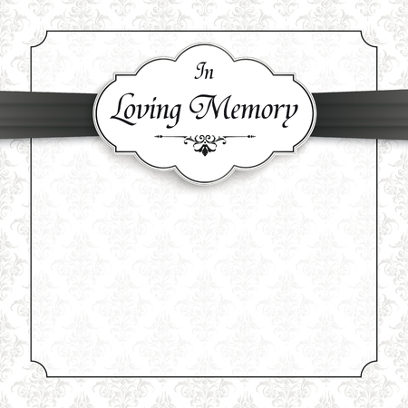 Nekrolog z tekstem W kochającej pamięci. Plik wektorowy EPS 10.