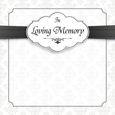 Obituario con el texto In Loving Memory. Archivo de vector EPS 10.