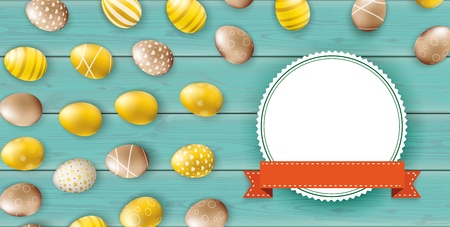 Golden easter eggs with paper emblem and orange ribbon on the wooden background.  vector file.