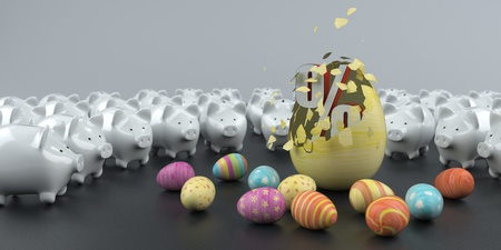 Piggy banks with colored easter eggs and big symbol of percent. 3d illustration. Stock Photo