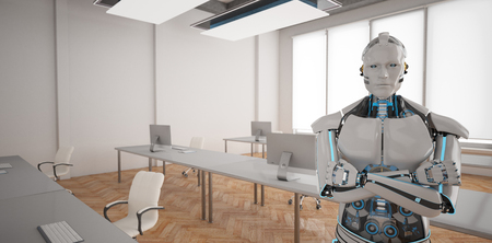 Humanoid robot in the open space office. 3d illustration.