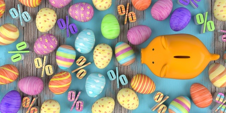Colored easter eggs with percents and orange piggy bank on the wooden table. 3d illustration.