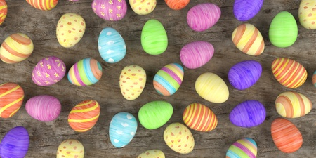 Colored easter eggs on the wooden table. 3d illustration. Banco de Imagens