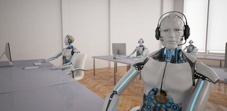 Humanoid robots in the call center. 3d illustration. Imagens