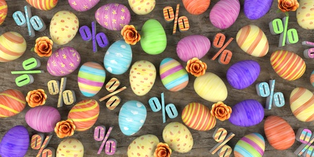 Colored easter eggs with percents and flowers on the wooden table. 3d illustration.