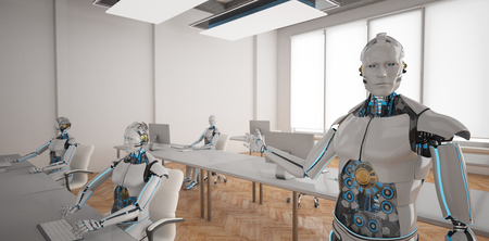 Humanoid robots in the open space office. 3d illustration. Imagens
