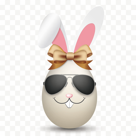 Natural easter eggs with hare face, sunglasses and ears ribbon. vector file.