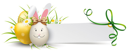 Golden easter eggs with grass, flowers and paper banner with green ribbon.  Eps 10 vector file.