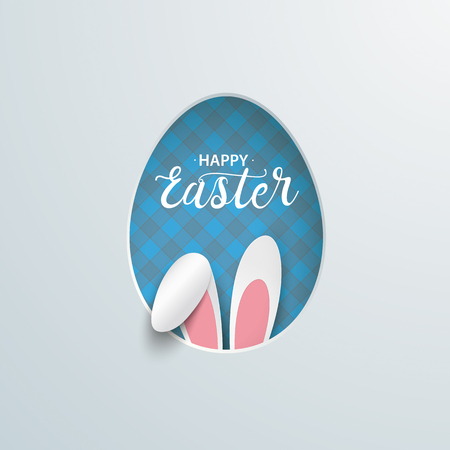 Happy easter cover with easter egg hole and hare ears. Eps 10 vector file. Stock Illustratie