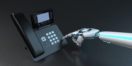 Humanoid robot accepts a call. 3d illustration.