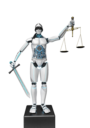 Humanoid robot as justitia with sword and beam scale. 3d illustration.