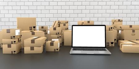 Notebook with shipping cartons on the dark background. 3d illustration. Reklamní fotografie