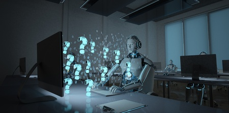 Humanoid robot in a call center with questions in the front of the monitor. 3d illustration. Imagens