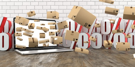 Notebook with shipping cartons and percents on a wooden table. 3d illustration.