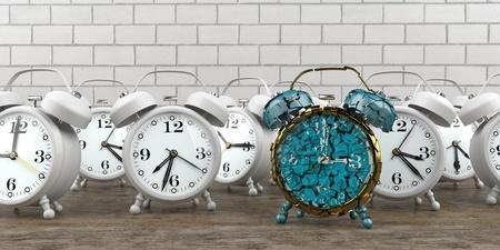 Splintered alarmer with white alarmers on the table. 3d illustration. Reklamní fotografie