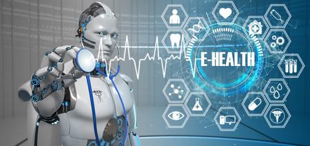 Humanoider Roboter als Arzthelferin mit einem Stethoskop und dem Text E-Health. 3D-Darstellung. Standard-Bild