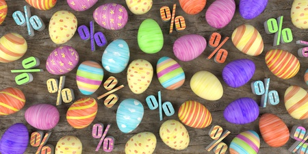 Colored easter eggs with and percents on the wooden table. 3d illustration. Stockfoto