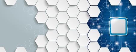 Estructura hexagonal con microchip sobre fondo gris y azul. Archivo de vector EPS 10.