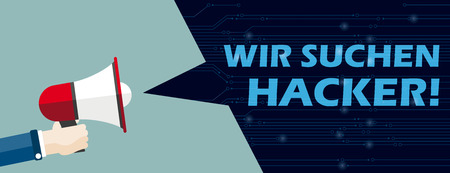 """German text """"Wir suchen Hacker"""", translate """"We are looking for hacker"""". Eps 10 vector file."""
