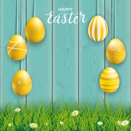 Hanging golden easter eggs on the wooden background. Eps 10 vector file.