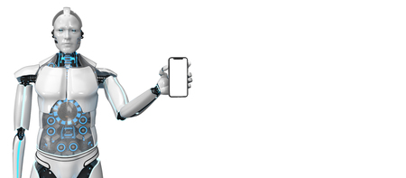 Humanoid robot with a smartphone with a white screen. 3d illustration.