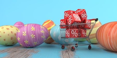 Colored easter eggs with shopping cart with red discount cubes. 3d illustration. Stockfoto