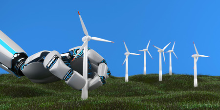 A humanoid robot sets up a wind turbine in a wind farm. 3d illustration. 스톡 콘텐츠