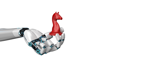 Humanoid robot hand with a red trojan horse. 3d illustration.