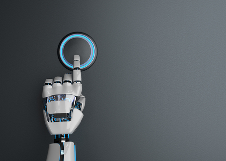 Humanoid robot hand pushes the button. 3d illustration.