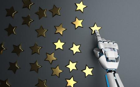 Humanoid robot with golden stars. 3d illustration.