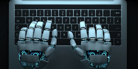 Humanoid robot typing on a notebook. 3d illustration. Imagens