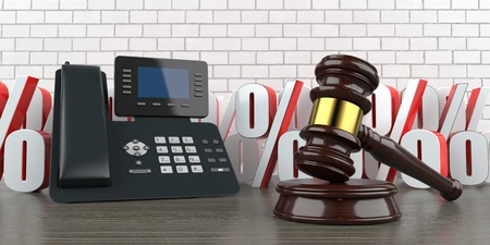 A phone with percents and wooden auction gavel. 3d illustration.
